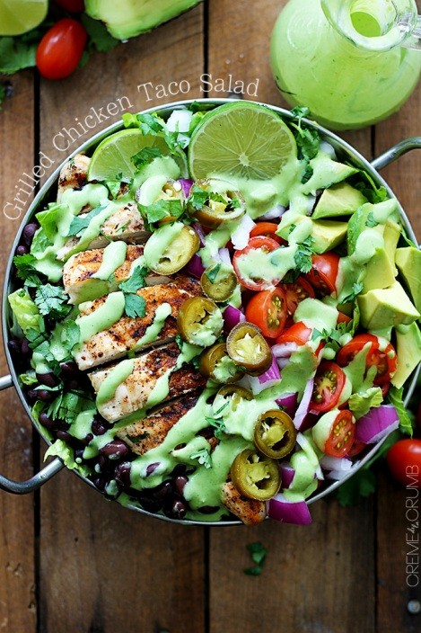 This Grilled Chicken Tacos Salad Is The Most Amazing Salad You'll Ever Eat!