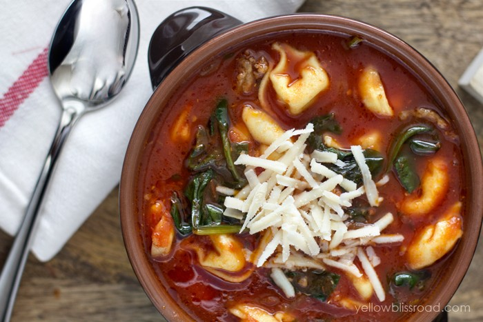 Creamy And Rich Tortellini Tomato Soup With Italian Sausage & Spinach