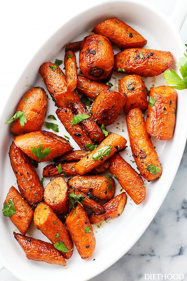 Incredibly Delicious Roasted Carrots With Garlic Butter