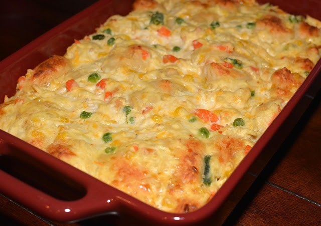 Hearty And Comforting Bubble Up Chicken Pot Pie Casserole