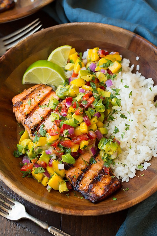 This Grilled Lime Salmon With Avocado-Mango Salsa And Coconut Rice Is The Perfect Summertime Meal