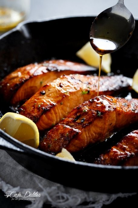 Crispy Juicy Browned Butter Honey Garlic Salmon