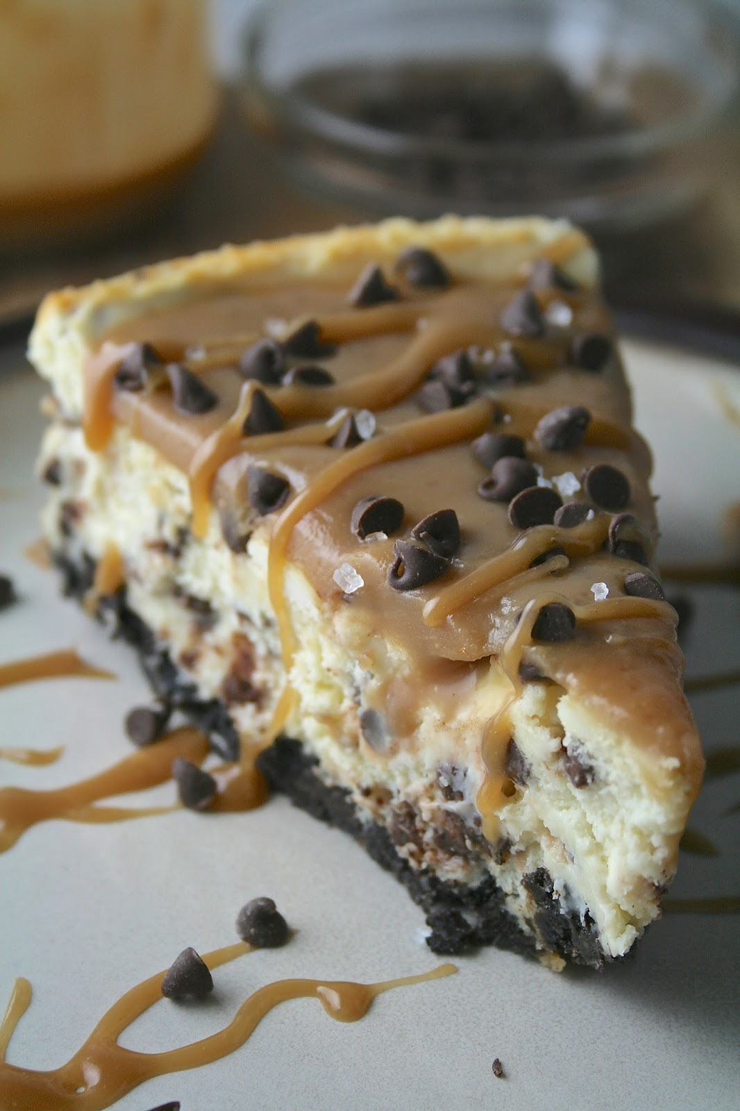 This Decadent Salted Caramel Chocolate Chip Cheesecake