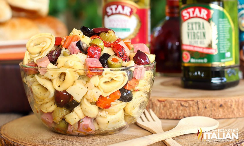 Incredibly Simple Homemade Muffaletta Tortellini Salad