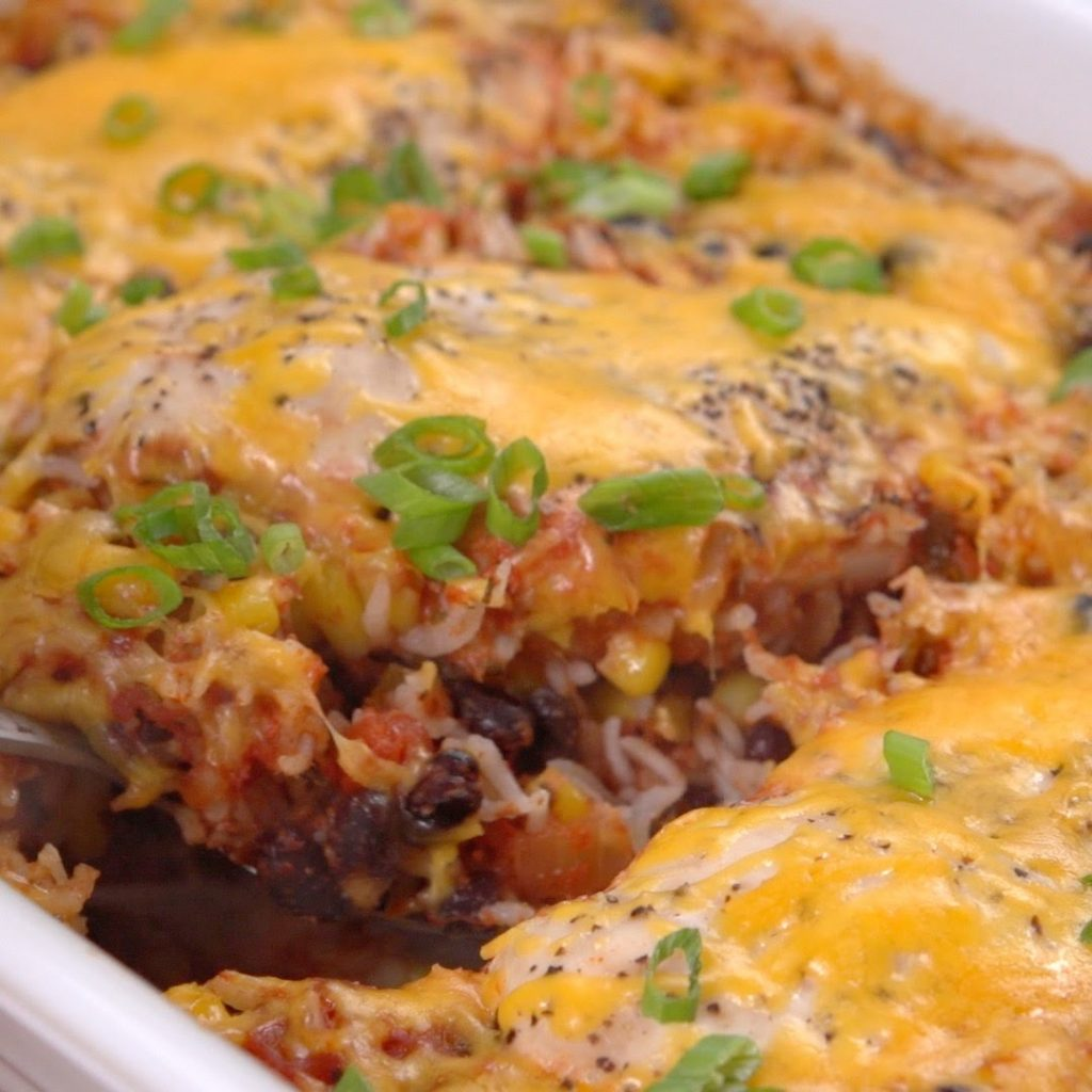 Dump And Bake Salsa Chicken Casserole