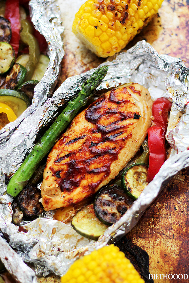 Quick And Easy Grilled Barbecue Chicken and Vegetables in Foil