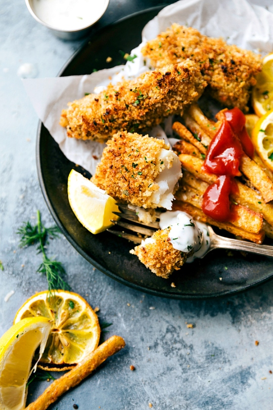 ONE PAN Baked Fish and Chips