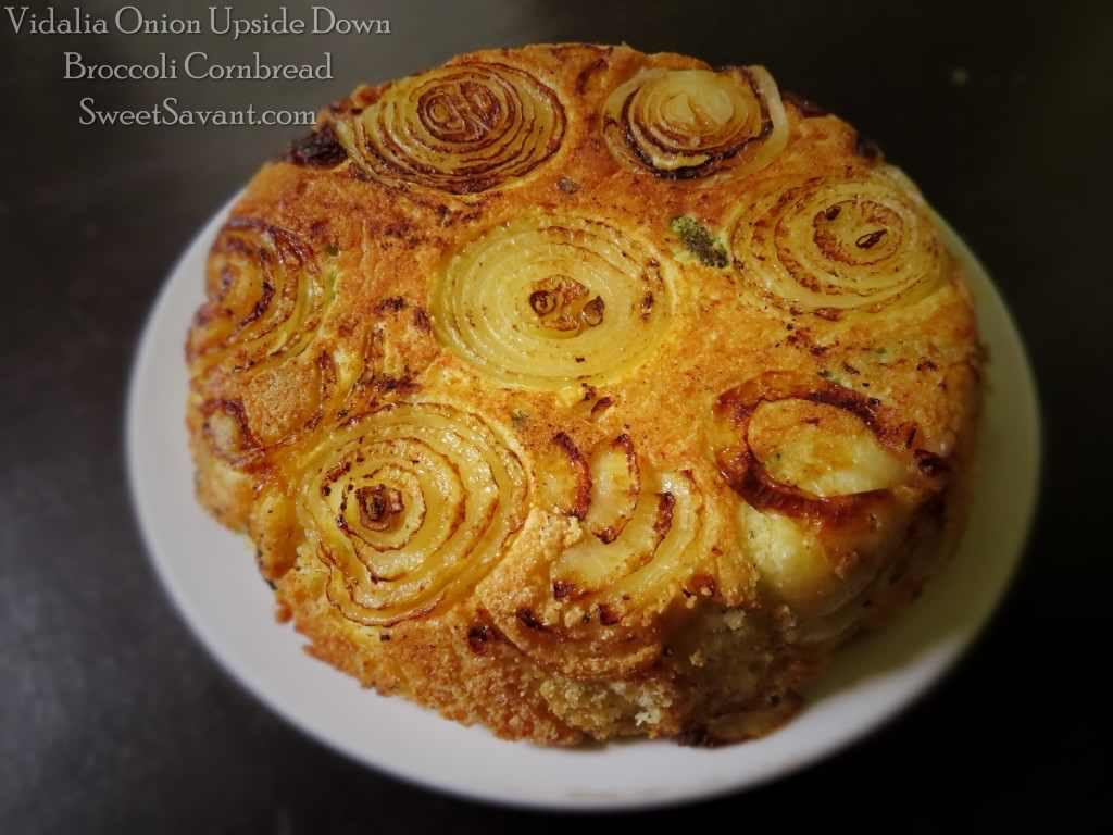 Onion Upside Down Cornbread With Broccoli And Cooked Bacon - Looks Great And Tastes Amazing!