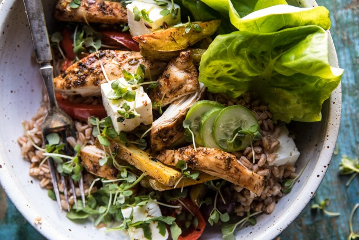 Keep Your Dinner Fun And Colorful With This Roasted Greek Chicken And Farro Salad with Oven Fries
