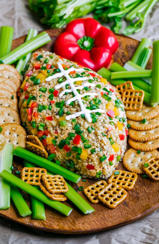 Best Super Bowl Appetizer Ideas-Buffalo Ranch Football Cheese Ball