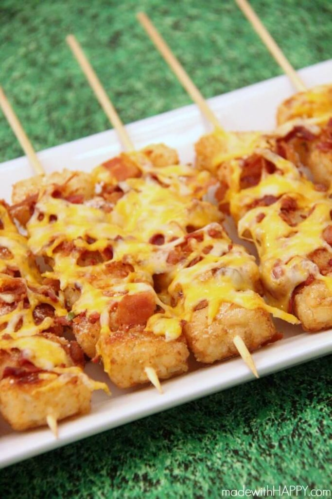 Best Super Bowl Appetizer Ideas-Loaded Tater Tot Skewers