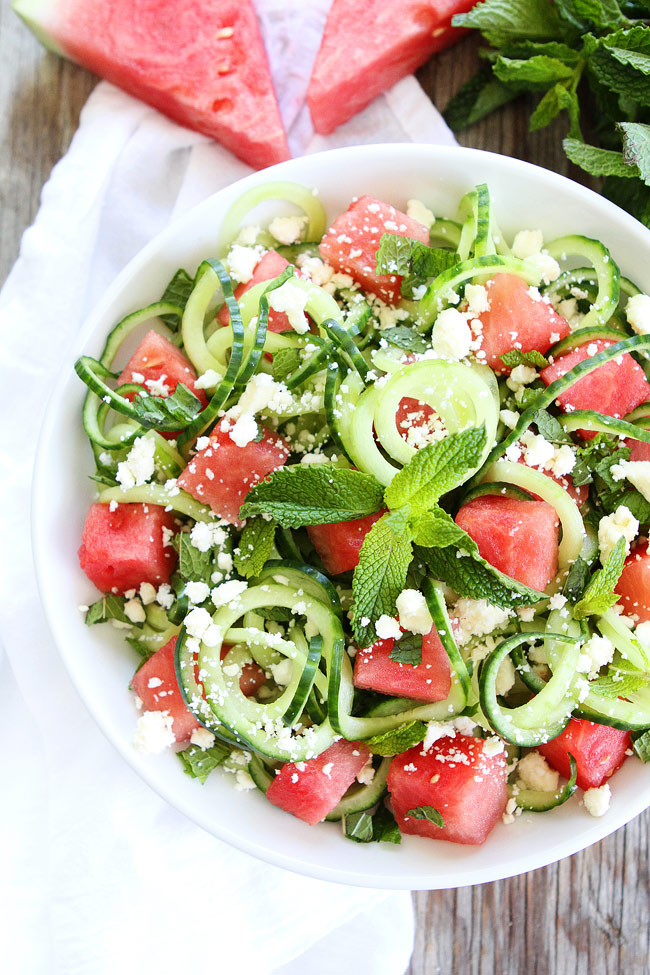 14 Summer Salad Recipe Ideas That Will Fill You Up-Cucumber Noodle, Watermelon, and Feta Salad