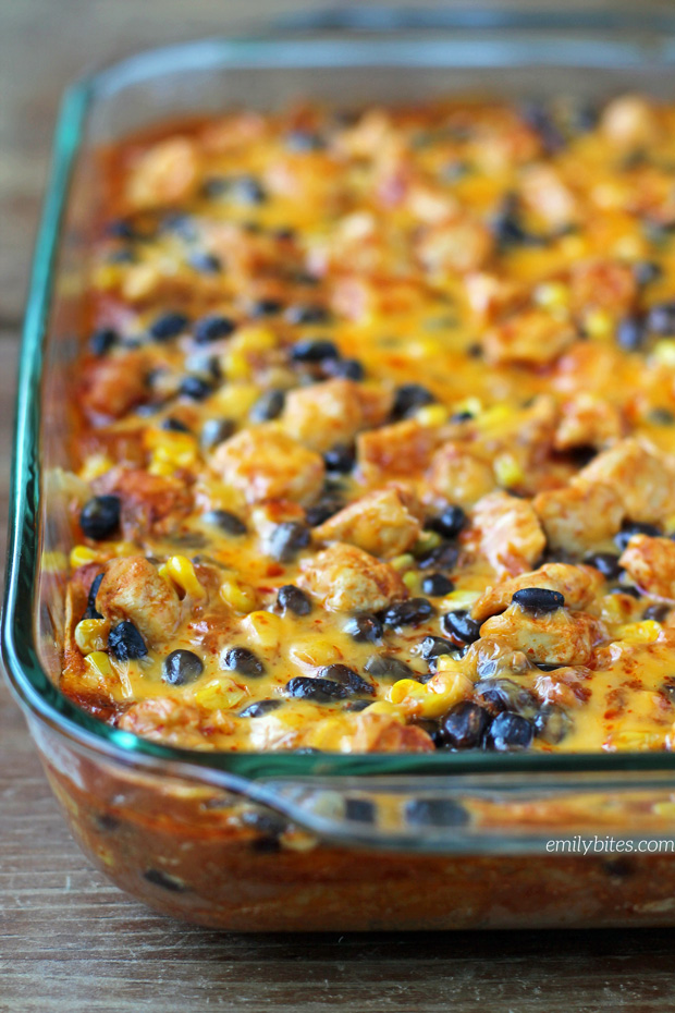 Layered Chicken Enchilada Bake