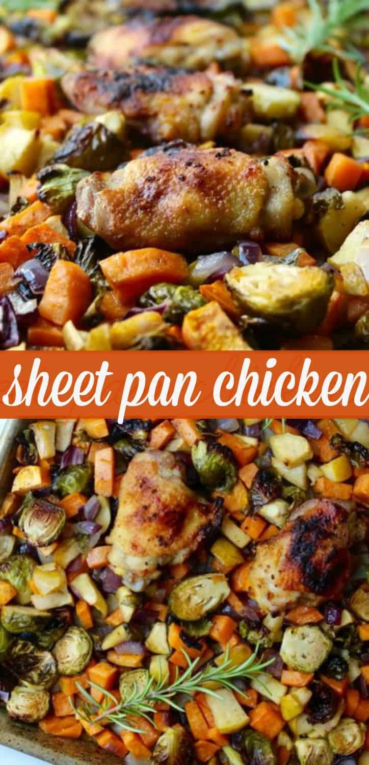 Easy Sheet Pan Chicken Dinner Recipe With A Ton Of Fall Veggies And Flavors